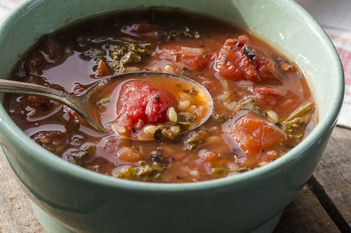 TOMATO BARLEY SOUP IN A CROCKPOT