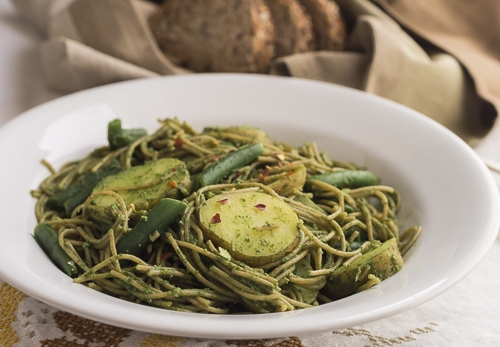 Angel Hair Pesto with Potatoes and Green Beans