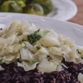 CABBAGE PARSLEY SAUCE OVER BLACK RICE