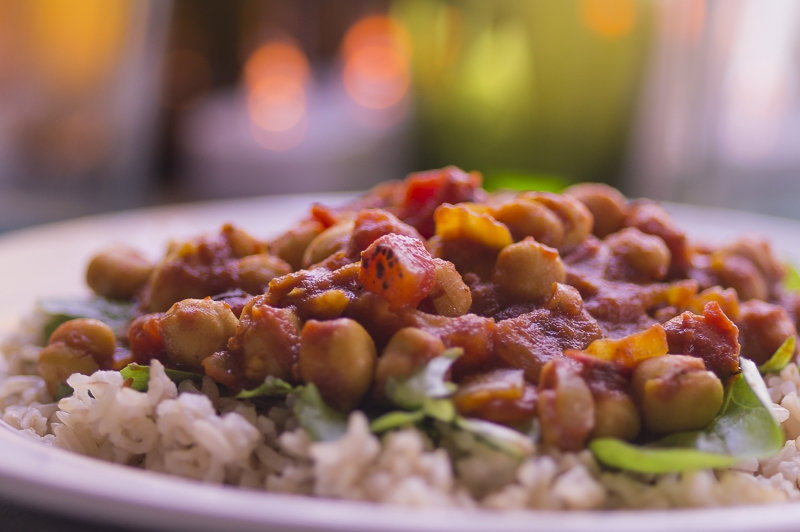 Chana Masala over Brown Basmati Rice