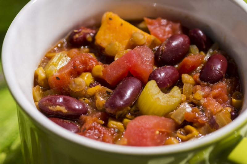 CHILI with FIRE ROASTED TOMATOES, KIDNEY BEANS and LENTILS