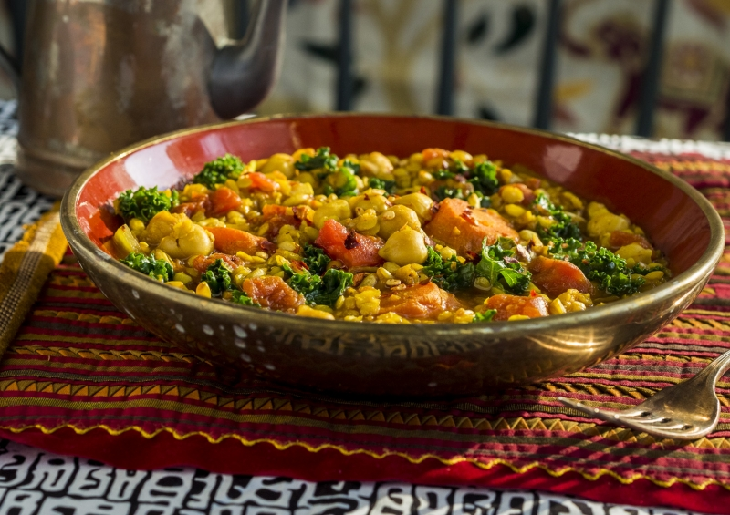 KAMUT, CHICK PEAS and PINK LENTILS INDIAN STYLE STEW