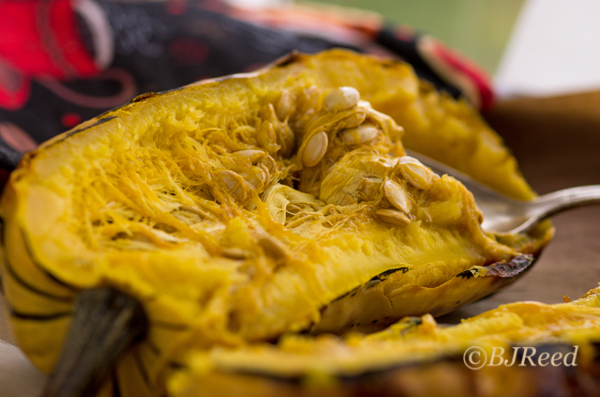 Delicata Squash - cut in half after roasting