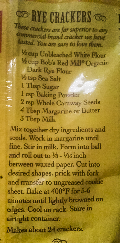 CRACKER RECIPE ON BACK OF PACKAGE