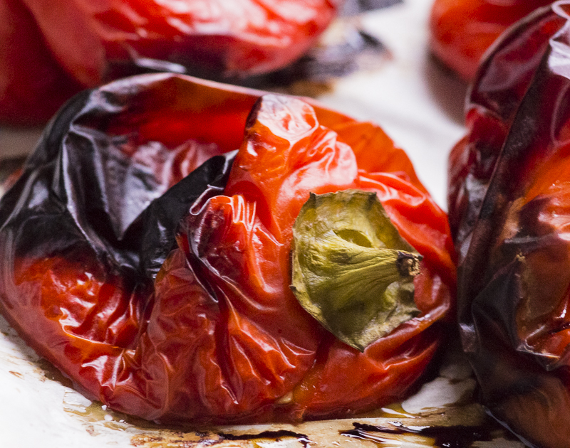 CHARRED ROASTED RED BELL PEPPERS